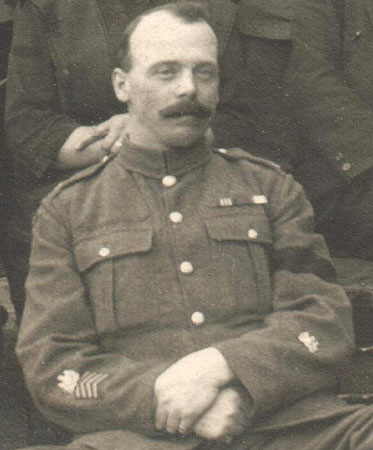 A Regimental Sergeant Major wearing the post - 1915 rank.